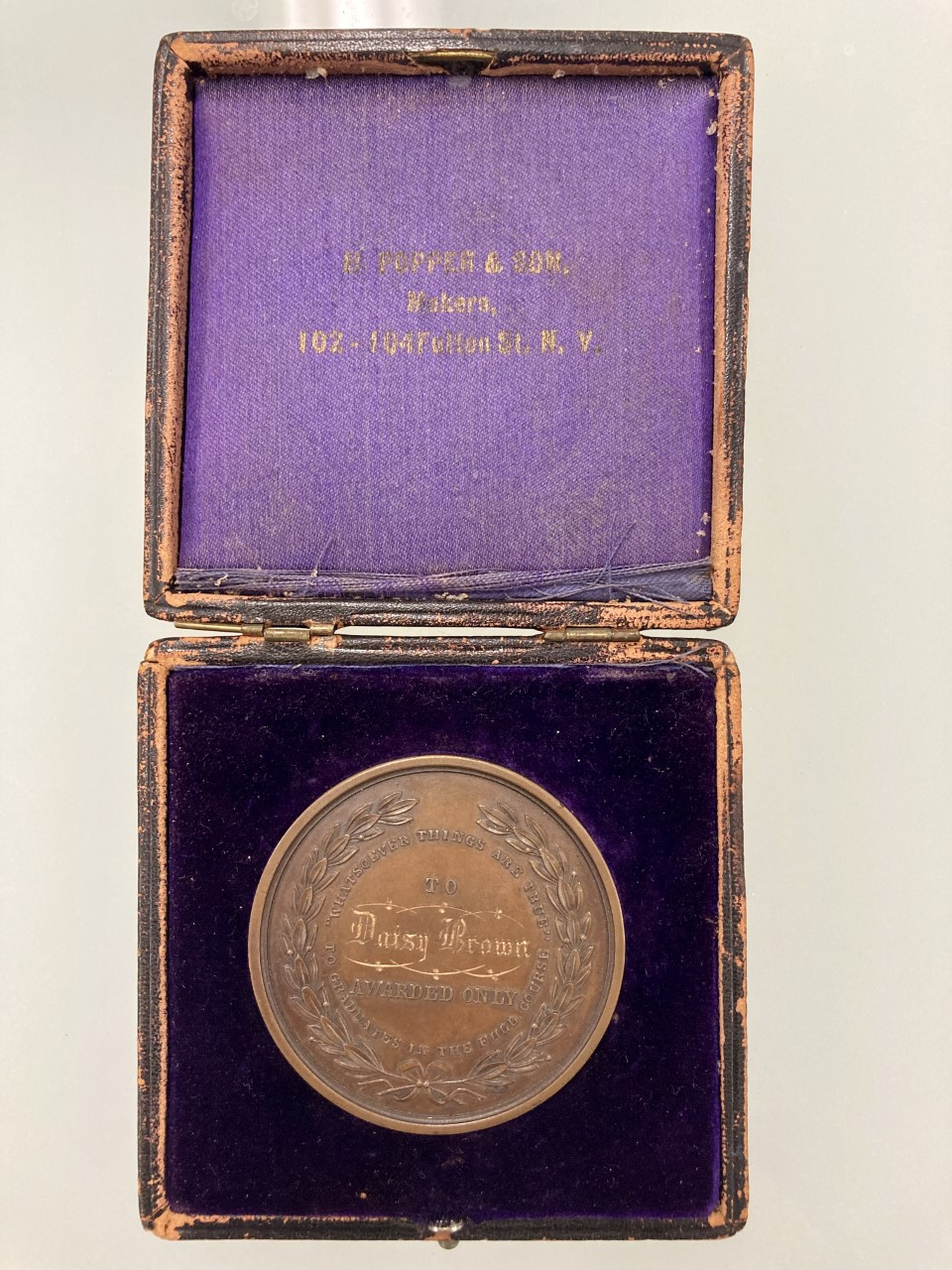 1904 medal awarded to Daisy Brown