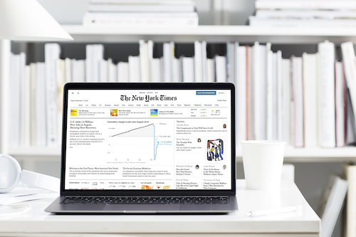 New York Times on a laptop.