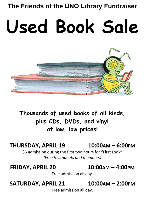 Friends of the UNO Library Used Book Sale April 19-21