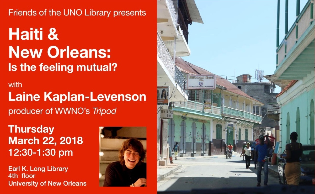 Laine Kaplan-Levenson presentation March 22 at the Earl K. Long Library