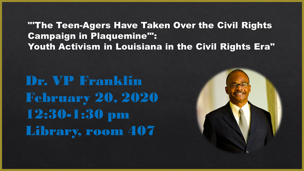 VP Franklin discusses youth activism Feb. 20, 12:30pm, Library room 407