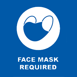 Masks or face coverings are required in the Library