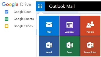 google drive and outlook office options
