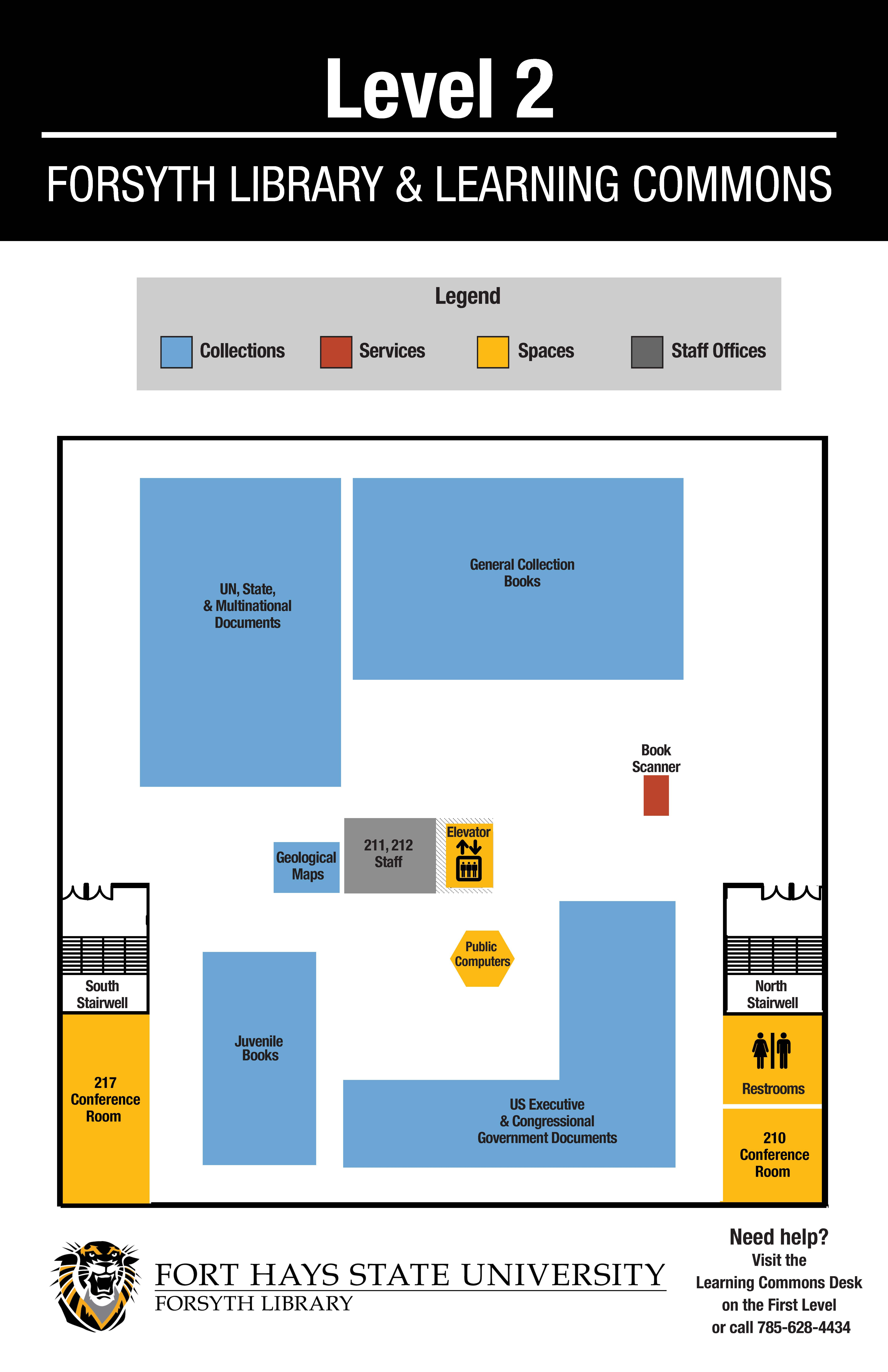 map of upper level of forsyth library