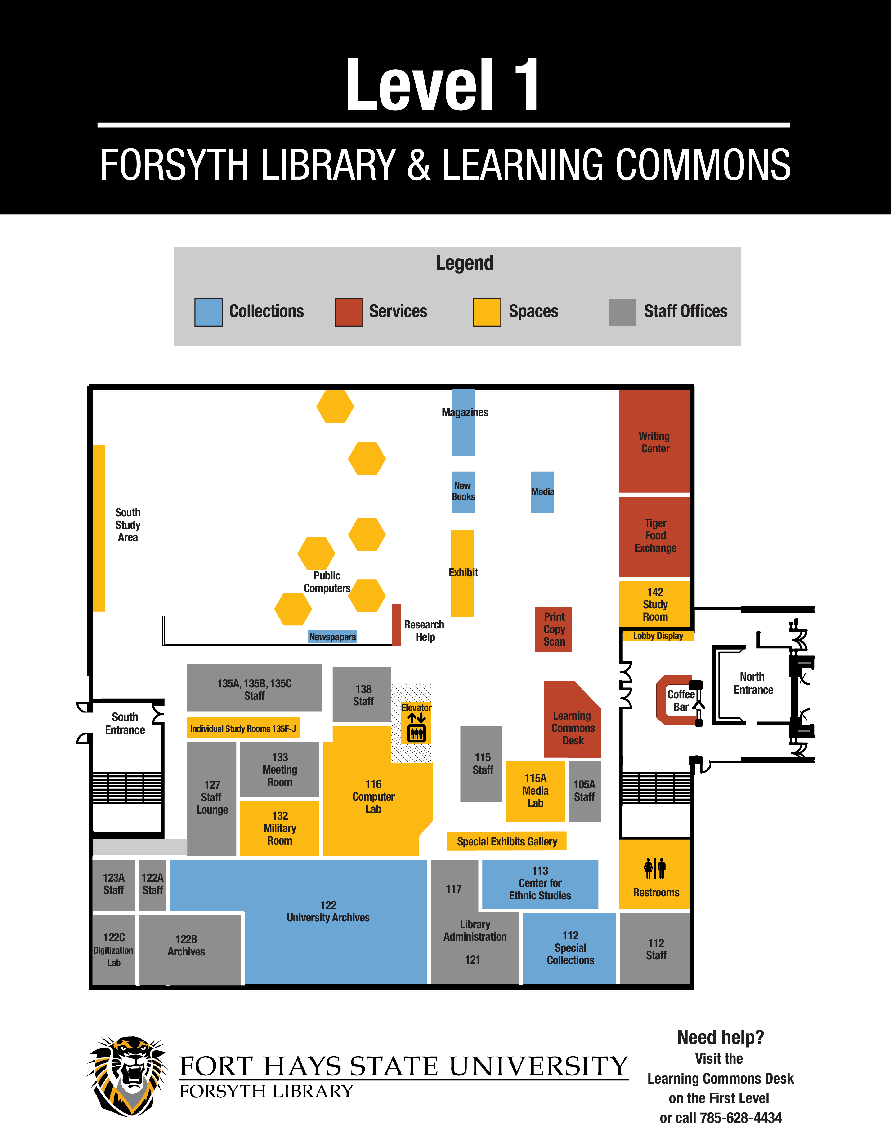 map of main level of forsyth library
