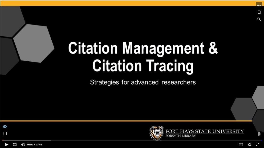 Citation Management and Citation Tracing Tutorial