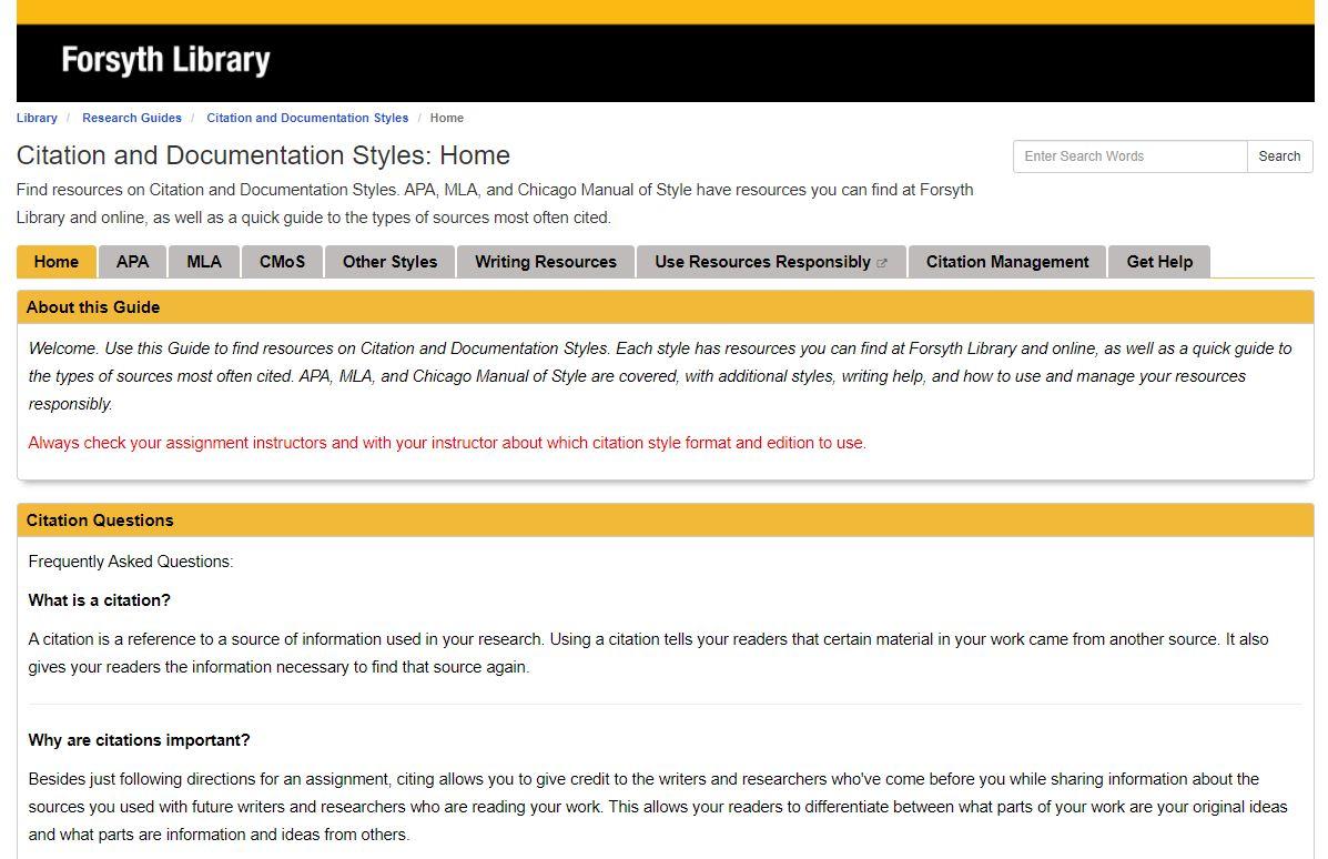 Citation and Documentation Style LibGuide