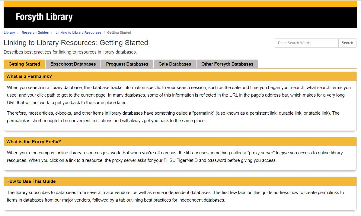 Linking to Library Resources LibGuide Screenshot