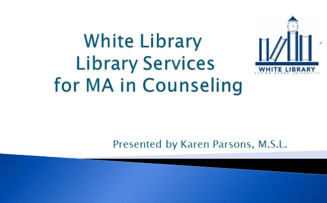 Library Services for MA in Counseling