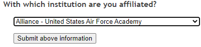 Prospector affiliation window with Alliance - United States Air Force Academy selected