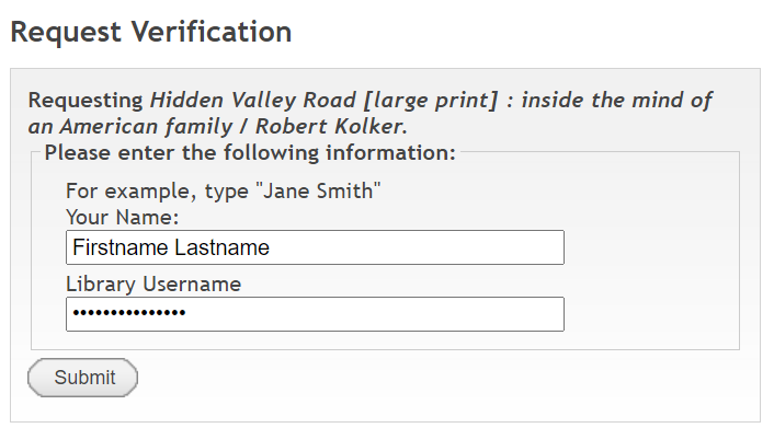 Prospector request verification window screenshot showing name and library account user name filled in