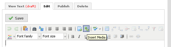 picture highlighting the insert media icon in rich text module toolbar