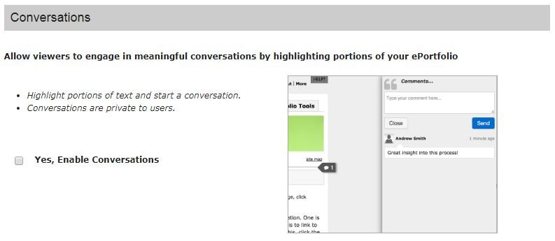 conversation area in ePortfolio settings