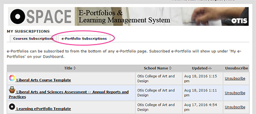 ePortfolio subscriptions