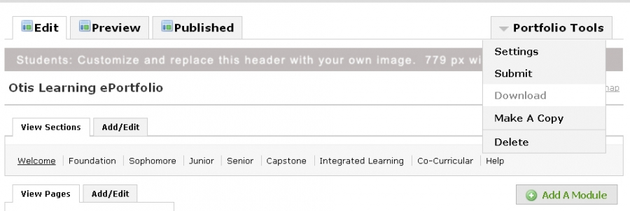 portfolio tools menu showing download option in o-space ePortfolios