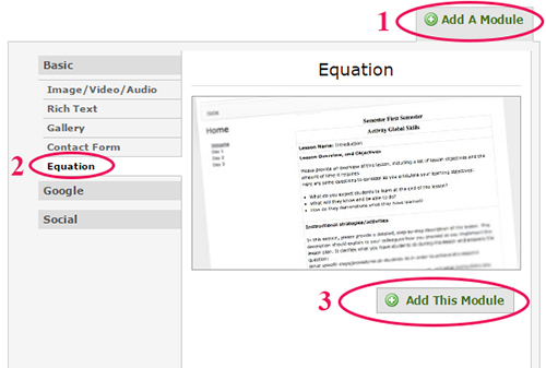 pink circles around the equation module option from the add a module menu in ePortfolio