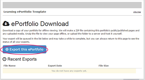 picture highlighting the blue export ePortfolio button