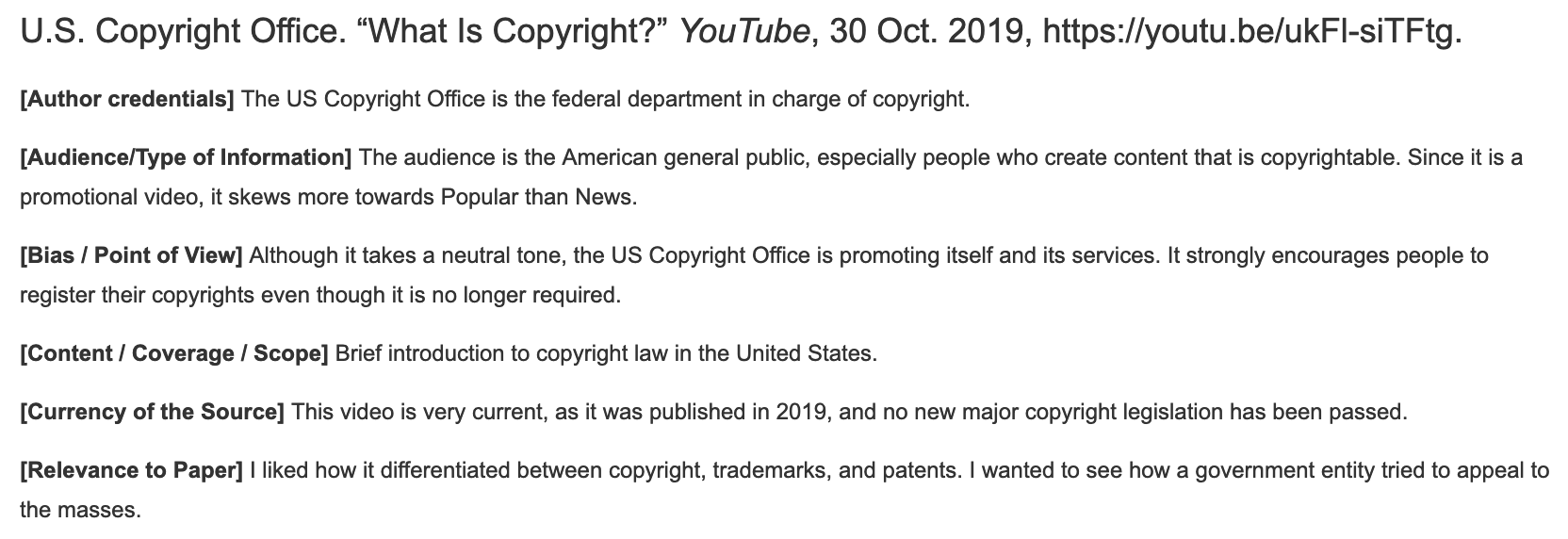 Sample annotation for What is Copyright video