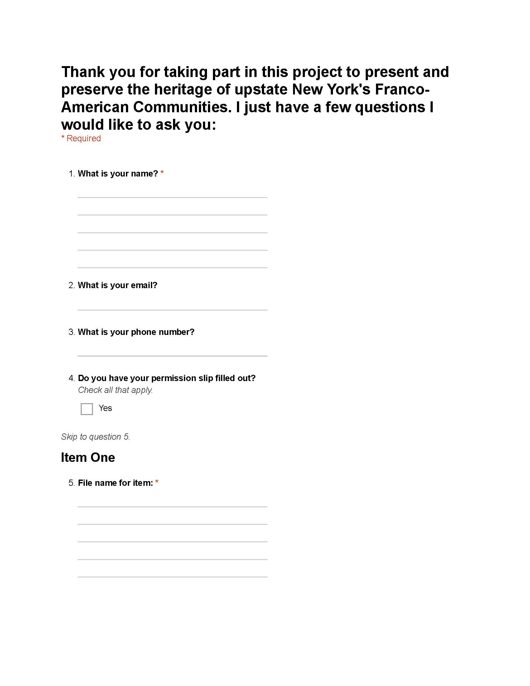 Franco Metadata Collection Form