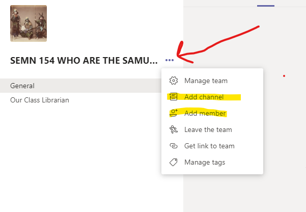 Add channel, Add member highlighted on Team Site.