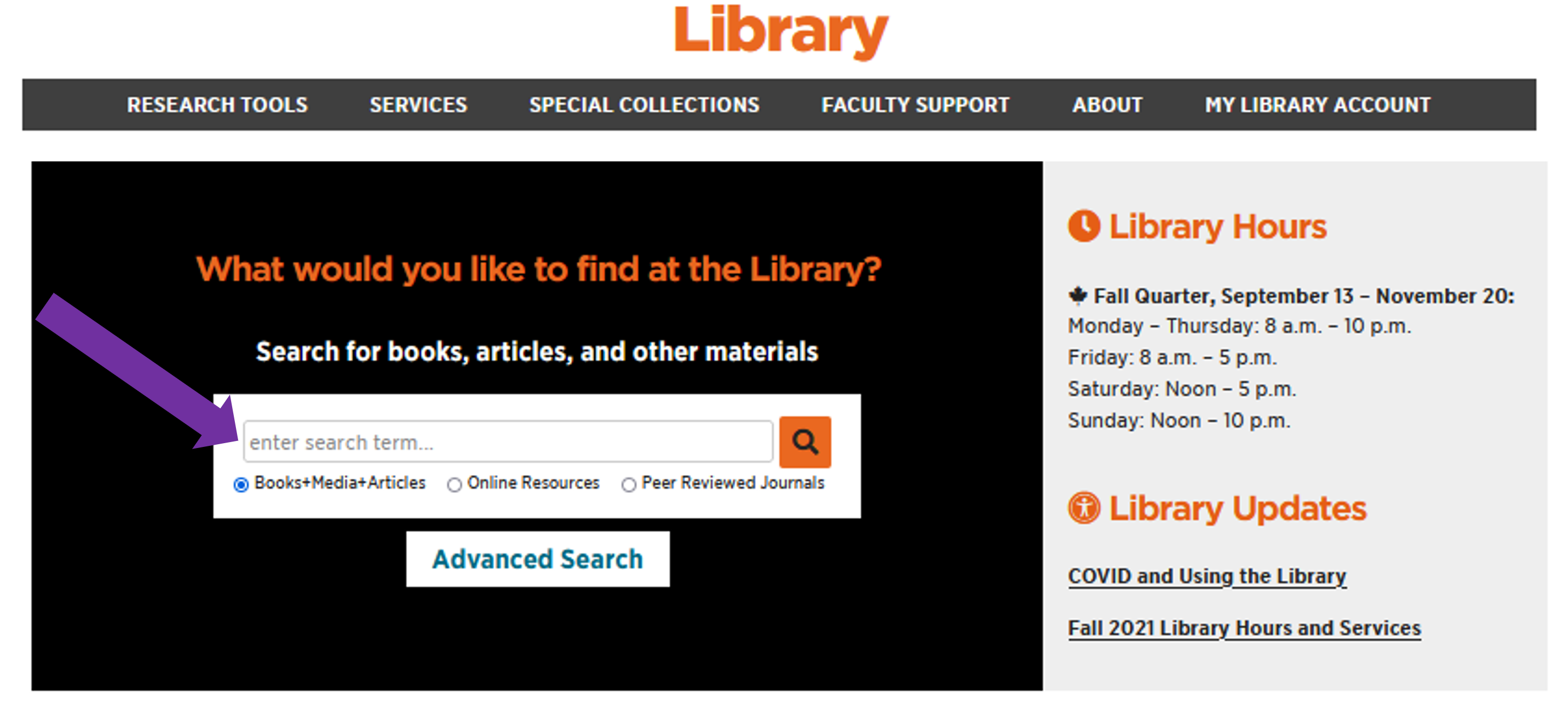 Arrow pointing to Library OneSearch on Library homepage