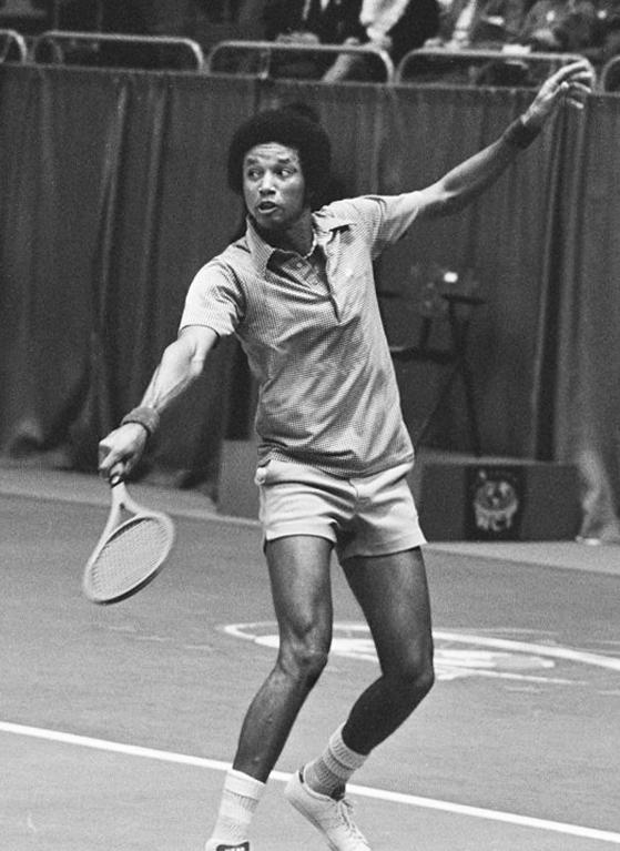 American tennis player Arthur Ashe at the 1975 World Tennis Tournament