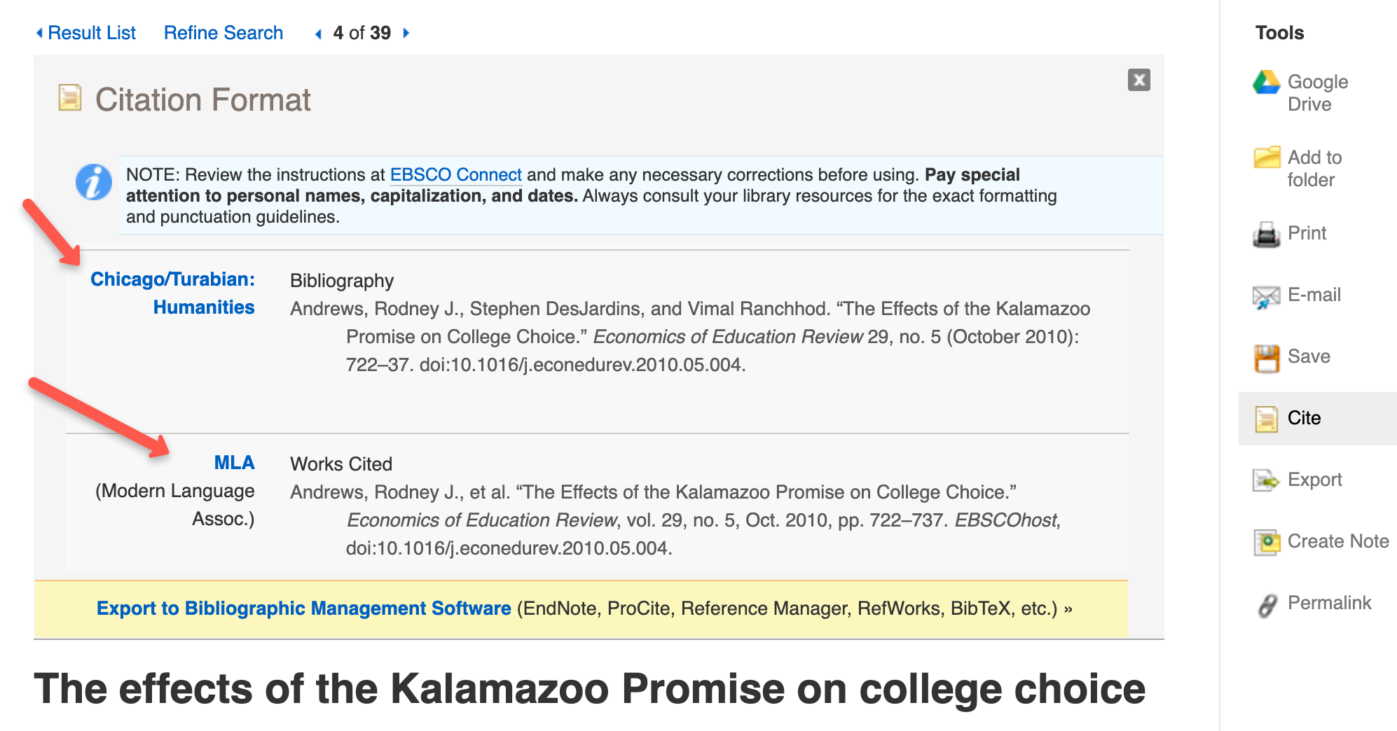 detailed screen showing citation formats