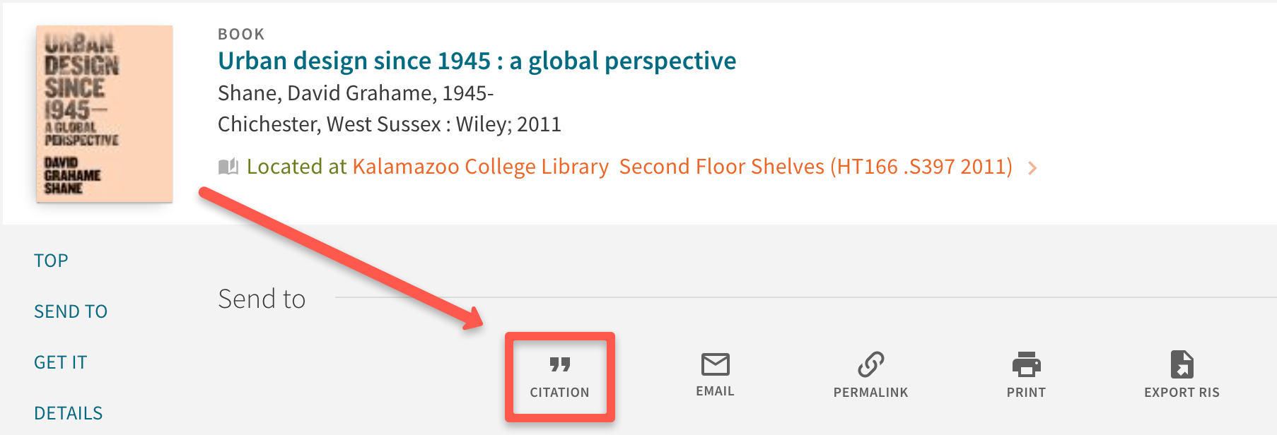 detailed record pointing to citation tool