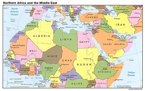 Map of North Africa and Middle East