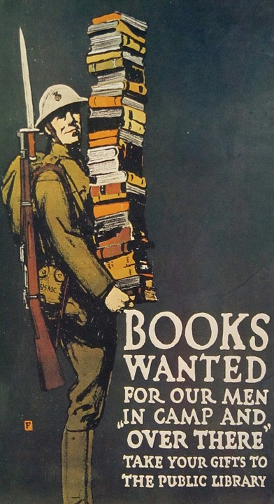 Soldier WWI with books