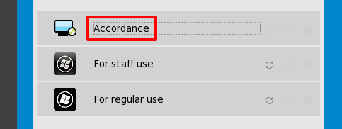 Login Options with Accordance highlighted