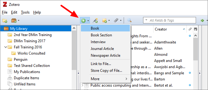 Image of Manual add button in Zotero Application