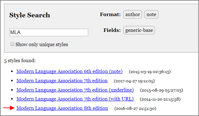 Image of Selecting a Citation Style to Download in Zotero Style Repository