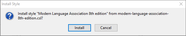 Image of Zotero Confirmation Pop-up for installing styles