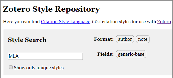 Image of a Search in Zotero Style Repository
