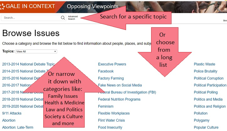 Opposing Issues topics screen