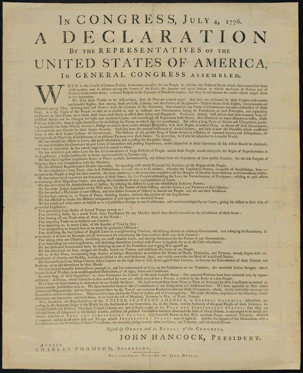 US Declaration of Independence: In Congress, July 4, 1776. A declaration by the representatives of the United States of America, In General Congress assembly. When in the Course of human events, it becomes necessary for one people to dissolve the political bands which have connected them with another, and to assume among the powers of the earth, the separate and equal station to which the Laws of Nature and of Nature's God entitle them, a decent respect to the opinions of mankind requires that they should declare the causes which impel them to the separation.  We hold these truths to be self-evident, that all men are created equal, that they are endowed by their Creator with certain unalienable Rights, that among these are Life, Liberty and the pursuit of Happiness.--That to secure these rights, Governments are instituted among Men, deriving their just powers from the consent of the governed, --That whenever any Form of Government becomes destructive of these ends, it is the Right of the People to alter or to abolish it, and to institute new Government, laying its foundation on such principles and organizing its powers in such form, as to them shall seem most likely to effect their Safety and Happiness. Prudence, indeed, will dictate that Governments long established should not be changed for light and transient causes; and accordingly all experience hath shewn, that mankind are more disposed to suffer, while evils are sufferable, than to right themselves by abolishing the forms to which they are accustomed. But when a long train of abuses and usurpations, pursuing invariably the same Object evinces a design to reduce them under absolute Despotism, it is their right, it is their duty, to throw off such Government, and to provide new Guards for their future security.--Such has been the patient sufferance of these Colonies; and such is now the necessity which constrains them to alter their former Systems of Government. The history of the present King of Great Britain is a history of repeated injuries and usurpations, all having in direct object the establishment of an absolute Tyranny over these States. To prove this, let Facts be submitted to a candid world.  He has refused his Assent to Laws, the most wholesome and necessary for the public good.  He has forbidden his Governors to pass Laws of immediate and pressing importance, unless suspended in their operation till his Assent should be obtained; and when so suspended, he has utterly neglected to attend to them.  He has refused to pass other Laws for the accommodation of large districts of people, unless those people would relinquish the right of Representation in the Legislature, a right inestimable to them and formidable to tyrants only.  He has called together legislative bodies at places unusual, uncomfortable, and distant from the depository of their public Records, for the sole purpose of fatiguing them into compliance with his measures.  He has dissolved Representative Houses repeatedly, for opposing with manly firmness his invasions on the rights of the people.  He has refused for a long time, after such dissolutions, to cause others to be elected; whereby the Legislative powers, incapable of Annihilation, have returned to the People at large for their exercise; the State remaining in the mean time exposed to all the dangers of invasion from without, and convulsions within.  He has endeavoured to prevent the population of these States; for that purpose obstructing the Laws for Naturalization of Foreigners; refusing to pass others to encourage their migrations hither, and raising the conditions of new Appropriations of Lands.  He has obstructed the Administration of Justice, by refusing his Assent to Laws for establishing Judiciary powers.  He has made Judges dependent on his Will alone, for the tenure of their offices, and the amount and payment of their salaries.  He has erected a multitude of New Offices, and sent hither swarms of Officers to harrass our people, and eat out their substance.  He has kept among us, in times of peace, Standing Armies without the Consent of our legislatures.  He has affected to render the Military independent of and superior to the Civil power.  He has combined with others to subject us to a jurisdiction foreign to our constitution, and unacknowledged by our laws; giving his Assent to their Acts of pretended Legislation:  For Quartering large bodies of armed troops among us:  For protecting them, by a mock Trial, from punishment for any Murders which they should commit on the Inhabitants of these States:  For cutting off our Trade with all parts of the world:  For imposing Taxes on us without our Consent:  For depriving us in many cases, of the benefits of Trial by Jury:  For transporting us beyond Seas to be tried for pretended offences  For abolishing the free System of English Laws in a neighbouring Province, establishing therein an Arbitrary government, and enlarging its Boundaries so as to render it at once an example and fit instrument for introducing the same absolute rule into these Colonies:  For taking away our Charters, abolishing our most valuable Laws, and altering fundamentally the Forms of our Governments:  For suspending our own Legislatures, and declaring themselves invested with power to legislate for us in all cases whatsoever.  He has abdicated Government here, by declaring us out of his Protection and waging War against us.  He has plundered our seas, ravaged our Coasts, burnt our towns, and destroyed the lives of our people.  He is at this time transporting large Armies of foreign Mercenaries to compleat the works of death, desolation and tyranny, already begun with circumstances of Cruelty & perfidy scarcely paralleled in the most barbarous ages, and totally unworthy the Head of a civilized nation.  He has constrained our fellow Citizens taken Captive on the high Seas to bear Arms against their Country, to become the executioners of their friends and Brethren, or to fall themselves by their Hands.  He has excited domestic insurrections amongst us, and has endeavoured to bring on the inhabitants of our frontiers, the merciless Indian Savages, whose known rule of warfare, is an undistinguished destruction of all ages, sexes and conditions.  In every stage of these Oppressions We have Petitioned for Redress in the most humble terms: Our repeated Petitions have been answered only by repeated injury. A Prince whose character is thus marked by every act which may define a Tyrant, is unfit to be the ruler of a free people.  Nor have We been wanting in attentions to our Brittish brethren. We have warned them from time to time of attempts by their legislature to extend an unwarrantable jurisdiction over us. We have reminded them of the circumstances of our emigration and settlement here. We have appealed to their native justice and magnanimity, and we have conjured them by the ties of our common kindred to disavow these usurpations, which, would inevitably interrupt our connections and correspondence. They too have been deaf to the voice of justice and of consanguinity. We must, therefore, acquiesce in the necessity, which denounces our Separation, and hold them, as we hold the rest of mankind, Enemies in War, in Peace Friends.  We, therefore, the Representatives of the united States of America, in General Congress, Assembled, appealing to the Supreme Judge of the world for the rectitude of our intentions, do, in the Name, and by Authority of the good People of these Colonies, solemnly publish and declare, That these United Colonies are, and of Right ought to be Free and Independent States; that they are Absolved from all Allegiance to the British Crown, and that all political connection between them and the State of Great Britain, is and ought to be totally dissolved; and that as Free and Independent States, they have full Power to levy War, conclude Peace, contract Alliances, establish Commerce, and to do all other Acts and Things which Independent States may of right do. And for the support of this Declaration, with a firm reliance on the protection of divine Providence, we mutually pledge to each other our Lives, our Fortunes and our sacred Honor. Signed by order and in behalf of teh Congress, John Hancock, President. Attest. Charles Thomson, Secretary. Philadelphia: Printed by John Dunlap.