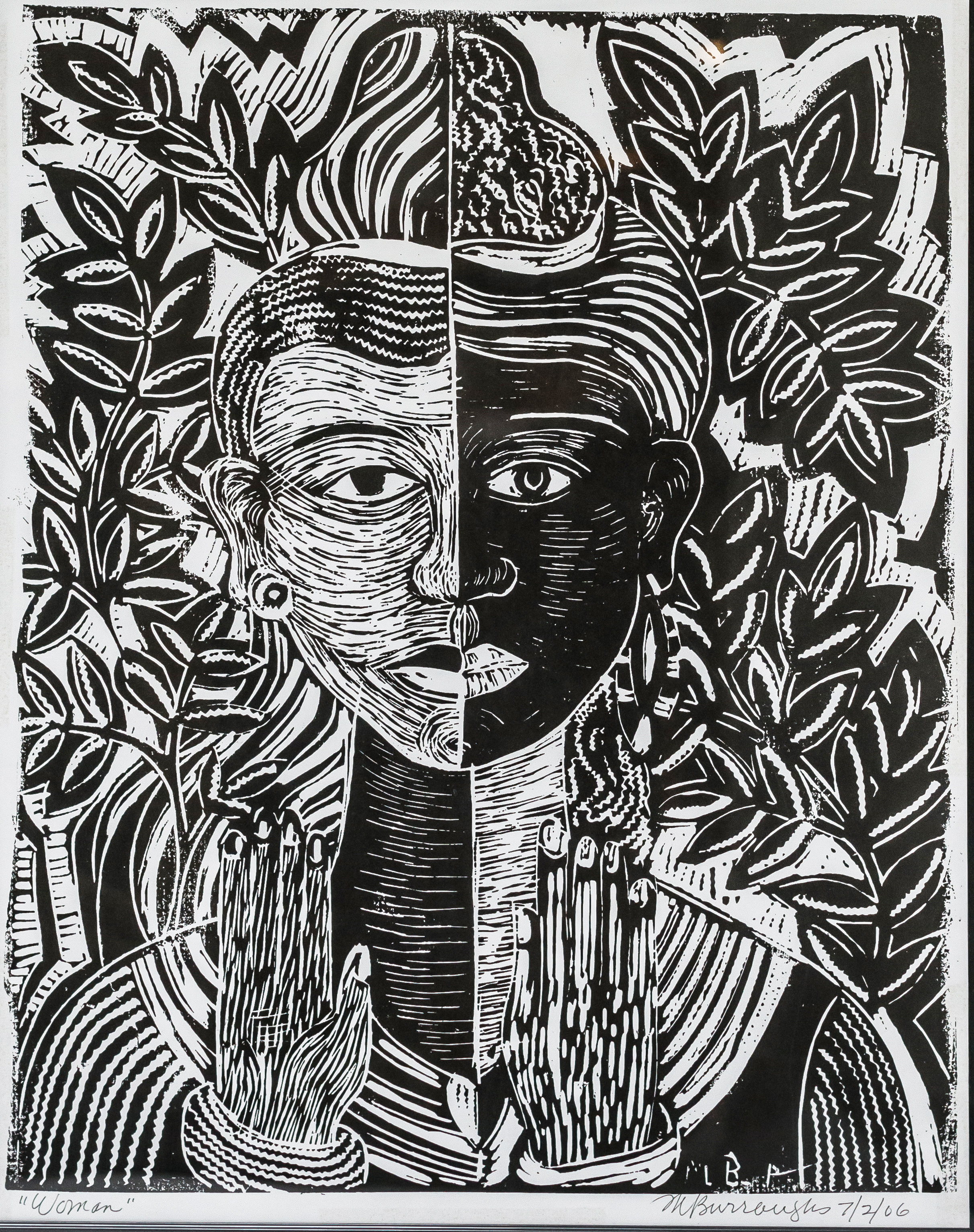 block print of a woman holding her hands up below her face