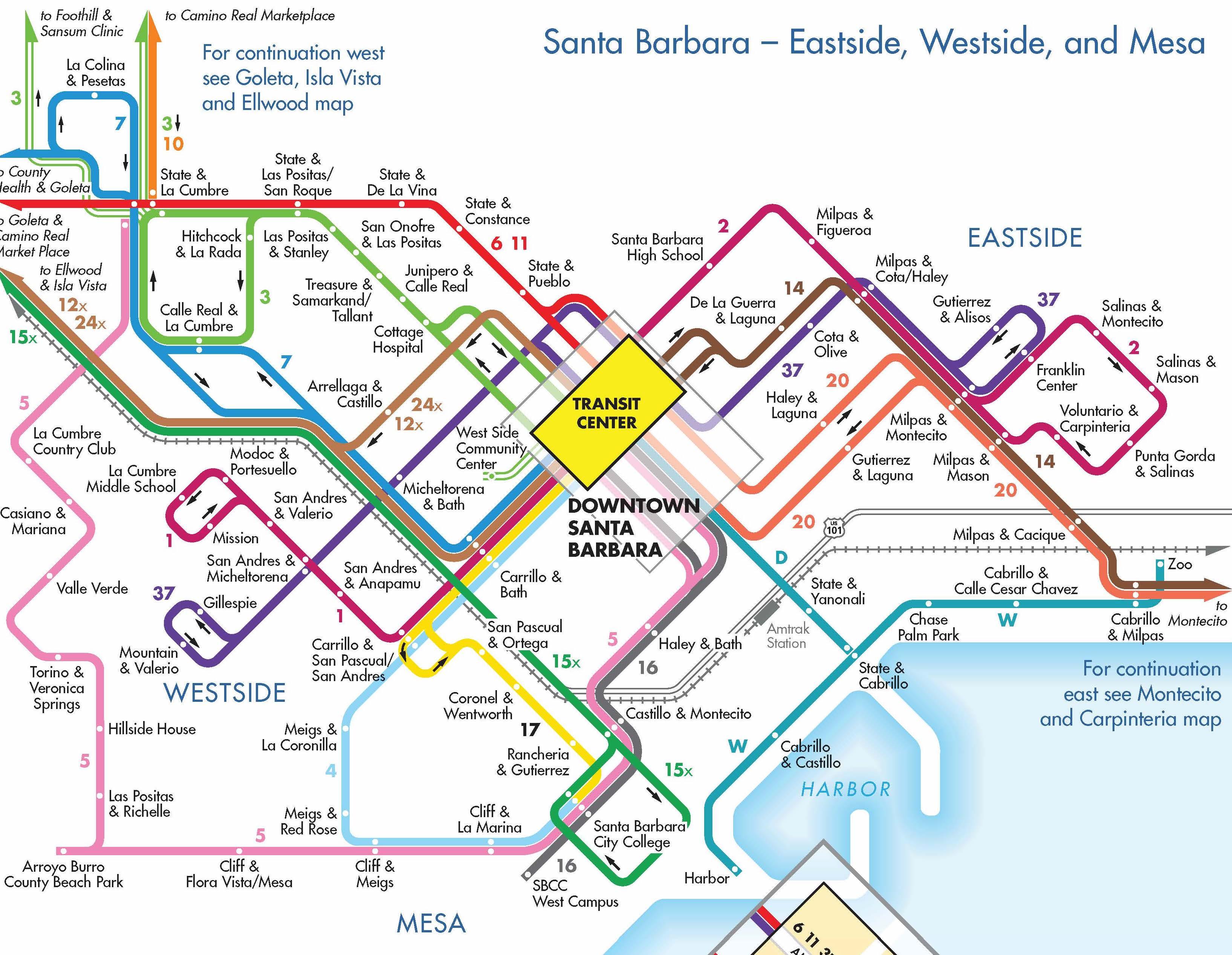 Transit map of Santa Barbara