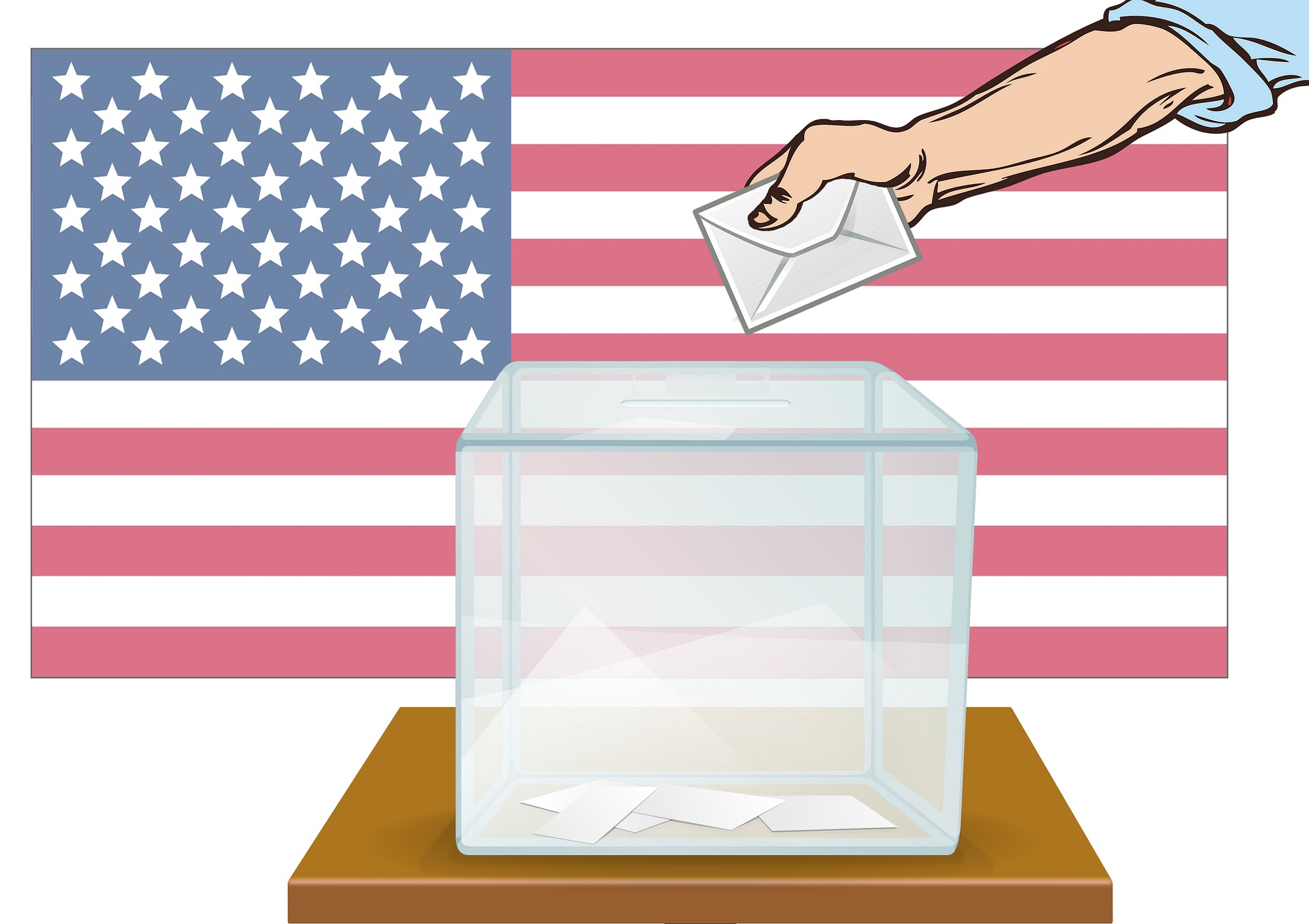 illustration of a hand putting a ballot in a box with an American flag in the background