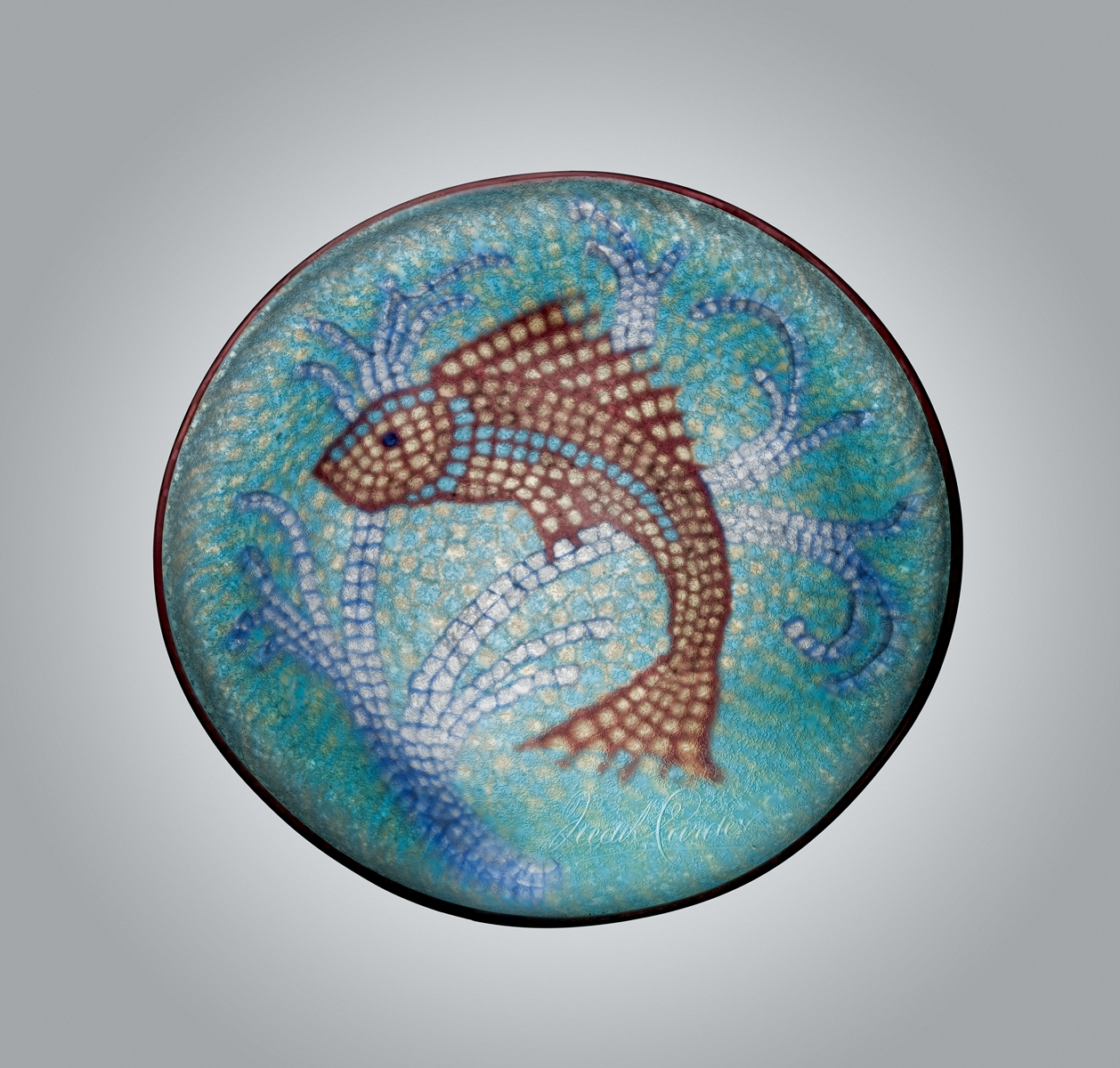 Carder-designed Mosaic Plate with Fish
