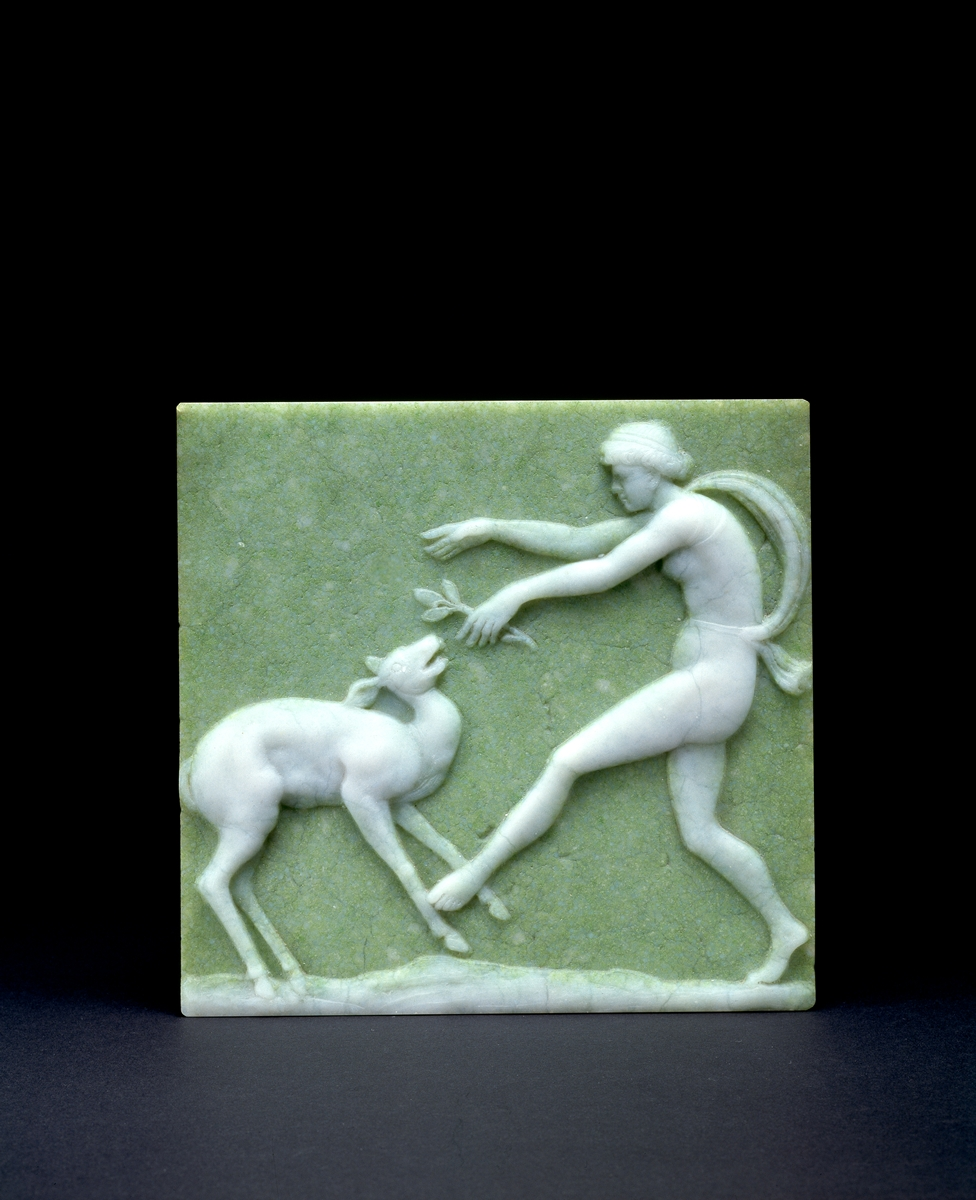 Carder post-Steuben Dancing Fawn Plaque