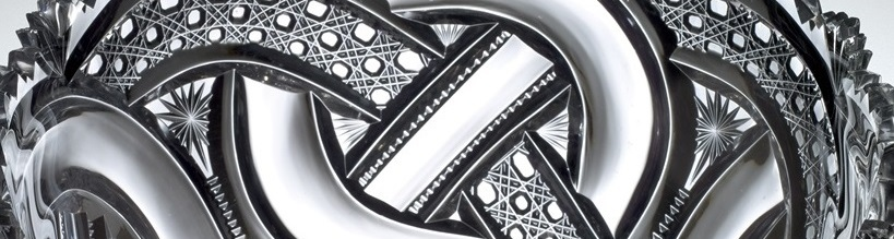 "Detail view of Bowl in ""Crystal City"" or ""Wedding Ring"" Pattern"