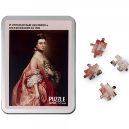 Rectangular box with image of painting of Mary Little, dressed in a silk gown with a glass ornament in her hair. Four puzzle pieces are next to the box.