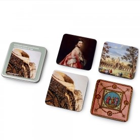 Coaster case with image of close-up of man's coat with jewels and four coasters with close-up images of objects in exhibition.