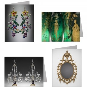 Image of 4 note cards, featuring a pair of earrings, a mirror in a gilded wood frame, a set of green vases featuring gilded figures, and a pair of girandoles with arms and pendants.