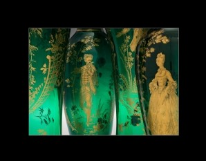 Set of Green Vases with Gilded Figures. The golden figures on these vases are dressed in fanciful rustic costume,