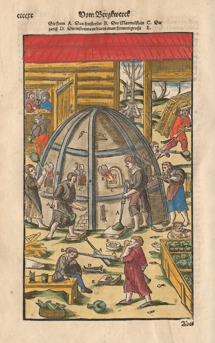 Workers at a furnace from Agricola, Berckwerck Buch (CGML 66820)