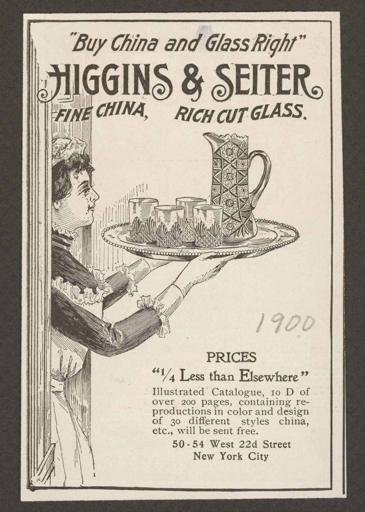Maid with cut glass pitcher and glasses