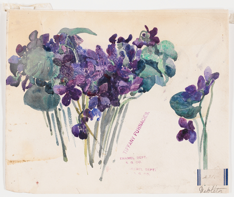 watercolor of violets